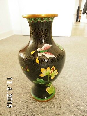 Alte Cloisonne Vase, China, emailliert, Messing, butterfly, 33 cm