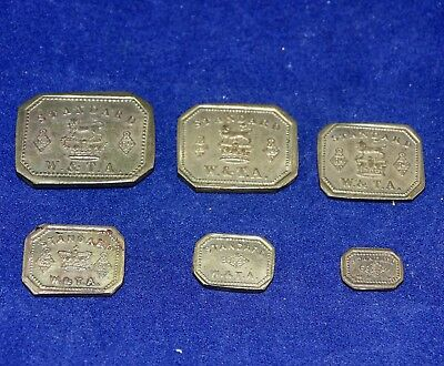 Matching Complete Set 6 Antique Victorian Brass Apothecary Weights by Avery