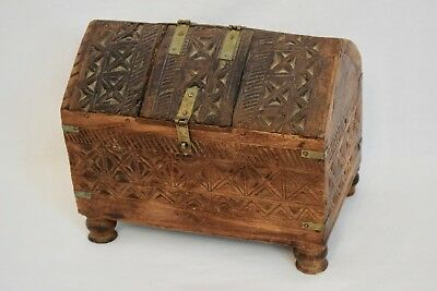 Early 20Th Century Hand Carved Brass Bound Hardwood Box 11 X 7 X 8""