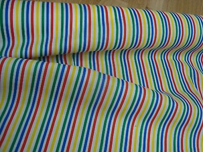 """VTG One Yd STRIPE Primary colors CLOWN Costume Fabric Craft Quilt 45/"""" x 36/"""" BTY"""