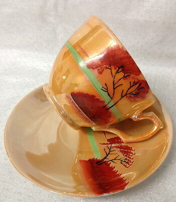 Vintage Golden Lustre Ware Cup & Saucer Duo Hand Painted Tree Scene