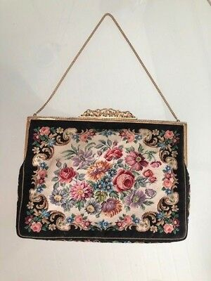 Original JB & Co Abendtasche  Petit Point Stickerei  Lupenarbeit 30 er Jahre