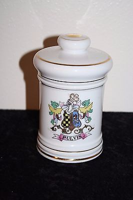 """Vintage Apothecary Jar By DOM Porcelain PULVIS 5 """" T x 3.25"""" W Gold Trimmed"""