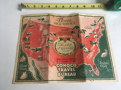 VTG Antique Oklahoma Conoco Gas Oil Travel Road Highway Map AS IS