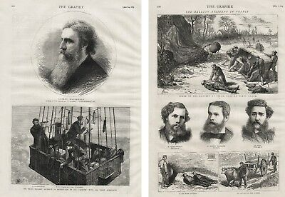 TWO 1875 ANTIQUE PRINT PAGES GASTON TISSANDIER BALLOON ACCIDENT IN FRANCE b39