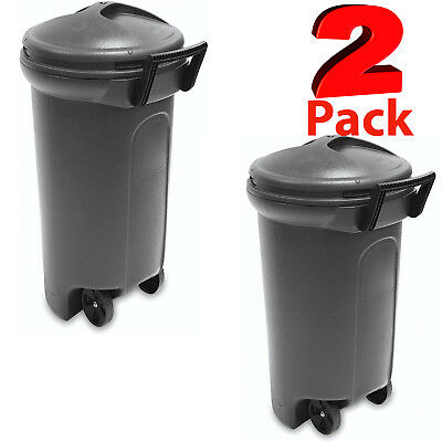 Wheeled Trash Can 32 Gallon 2-Pack Outdoor Waste Garbage Bin Container Recycling