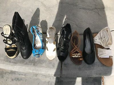 Lot of 5 pairs of new women's shoes, flats, sandals, slippers, heels