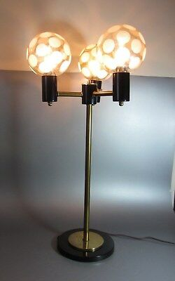 Vintage Table Lamp Mid-Century Modern coin dot spot 3 space ball Atomic Sputnik