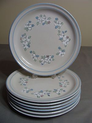 7 Chantilly Hand Decorated Stoneware Dinner Plates By Hearthside, Fleur de Lune