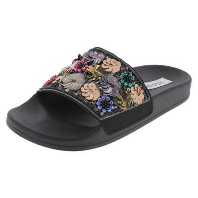 7b5e5e2dfc2 Steve Madden Womens Beaded Floral Sequined Slide Sandals Shoes Size 5 Italy   69