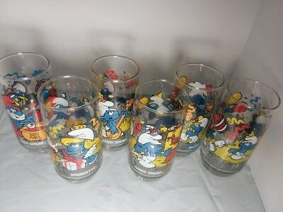 1983 Complete Set of 6 Smurf Character Glasses