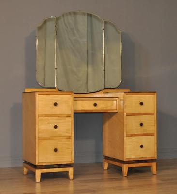 Large Vintage Beithcraft Twin Pedestal Satinwood Triple Mirror Dressing Table
