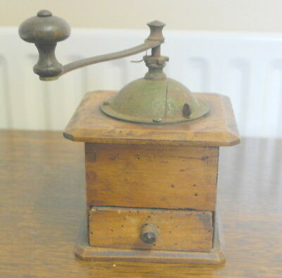 antique wood COFFEE GRINDER