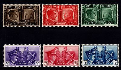 Ww2 Italy 1941 - Sc# 413 - 418 Mint Never Hinged Set Hitler & Mussolini Axis