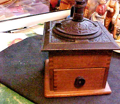 Nice Vintage Wood & Cast Iron Coffee Grinder Works Great Still Coffee In It
