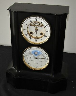 Impressive French Marble Visible Escapement Mantle Clock With Calendar Dial