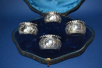 Antique Cased Set of 4 Solid Silver Salts Hallmarked Chester 1898 Mappin Bros