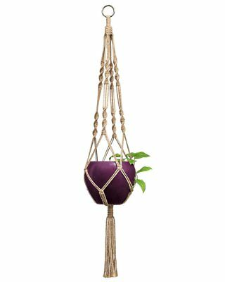 Mkono 2 Pcs Macrame Plant Hanger Indoor Outdoor Hanging Planter Basket Jute
