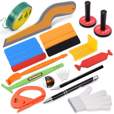 PRO Car Vinyl Wrap Felt Squeegee 2 Magnets Window Tint Tools Kit Sign Making