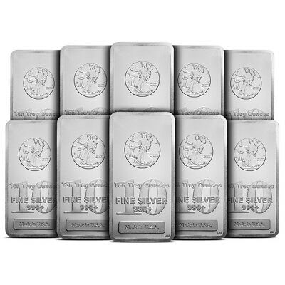 Lot of 10 - 10 oz Silver Bar .999 Fine Highland Mint HM Walking Liberty Sealed