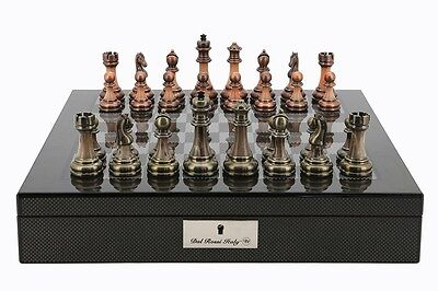 """Dal Rossi Italy Carbon Fibre Finish chess box with compartments 16"""" With Antique"""