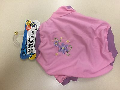 Doggles Dog T-Shirt Pink and Purple With Flower Size 14 - 16 New