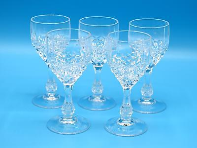 Set of 5 Cristal d'Arques Crystal Cordial Glasses - Longchamp Pattern