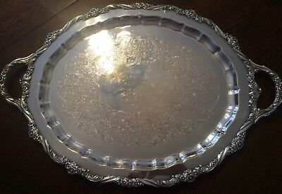"""Rare 1847 ROGERS BROS Heritage Large 9482 Waiter Serving Tray 28"""" - Awesome!"""