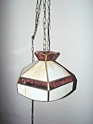 LAMPS A VINTAGE TIFFANY STYLE SLAG GLASS HANGING CHANDELIER CEILING LAMPw/CHAIN