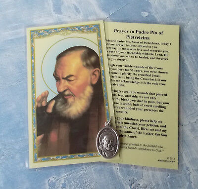 """St Padre Pio 1"""" Oxidized Silver Medal with Laminated card"""
