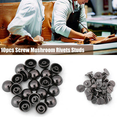10Pcs Screw Dome Mushroom-head Rivets Studs Decorative Buttons Black / Silver
