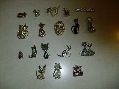 Crazy Cat Lady Lot Broaches Pins  17 Pieces Vintage Kitty Goldtone & Silvertone