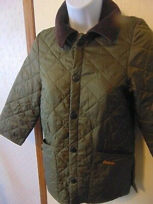 Barbour Kids quilted jacket  Olive Green With Brown Corduroy Collar Size Small