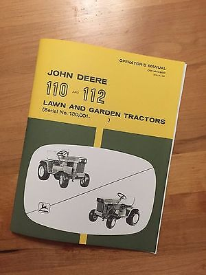 John Deere 110 and 112 Lawn and Garden Tractors Operator's Manual