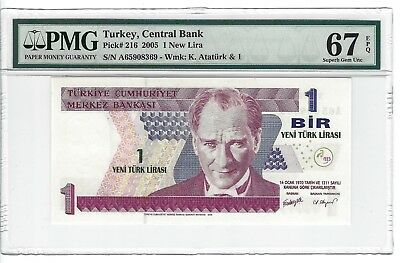 P-216 2005 1 New Lira, Turkey Central Bank, PMG 67EPQ SUPERB!