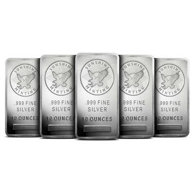 Lot of 5 - Sunshine Minting (SMI) 10 Oz .999 Silver Bar Mintmark SI - Sealed