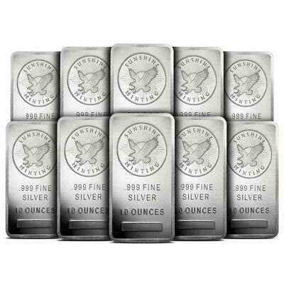 Lot of 10 - Sunshine Minting (SMI) 10 Oz .999 Silver Bar Mintmark SI - Sealed