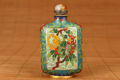 Antique Chinese old cloisonne hand painting flower  Royal square snuff bottle