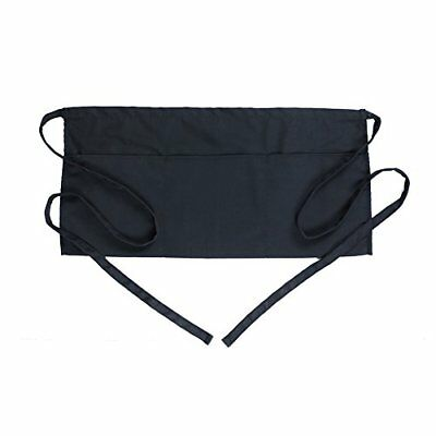 "Waist Apron with 3 Pockets-24 X 12"" Black Half Short Aprons Kitchen Restaurant"