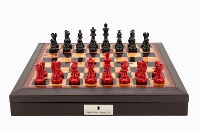 """Dal Rossi Italy Brown PU Leather Chess box with compartments 18"""" with French Lar"""