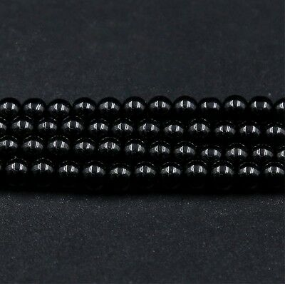 Wholesale Natural Obsidian Stone Round Beads Jewelry Findings DIY Bracelet 6Size