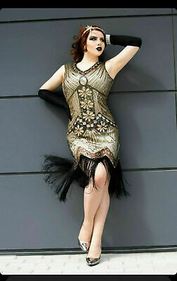 1920\'S GOLD VINTAGE Gatsby Flapper Dress Costume - Gatsby Dress Plus Size