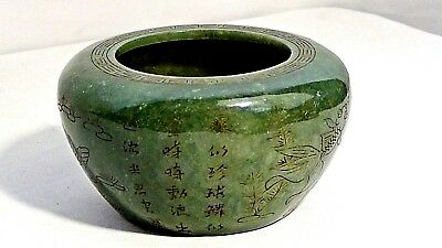 Antique Chinese Green Nephrite Jade Carved Ducks&fish ,caligraphy Brush Washer