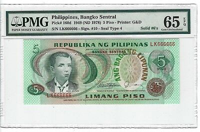 P-160d 1949 5 Piso, Philippines, Bangko Sentral, PMG 65E Serial is Solid 666666s