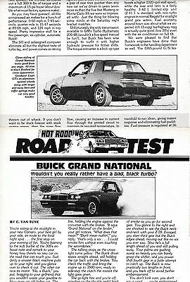 1984 Buick Regal GRAND NATIONAL, Detailed USA Car Magazine Performance Road Test