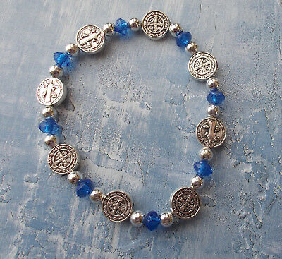 Stretch Saint St Benedict Rosary Bracelet Protection~Antique Silver Tone w crys~