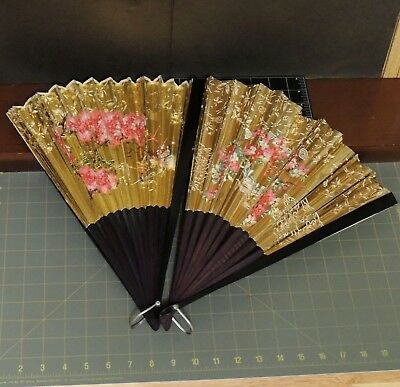 Chinese Asian Bamboo? & Paper Folding Fan Gold Floral Pattern Vintage lot 2 24""