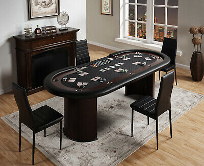 """96"""" Texas Hold'em Casino Poker Table with Cup Holders Drop Box Chip Tray - Black"""