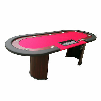 """96"""" Texas Hold'em Casino Poker Table with Cup Holders Drop Box Chip Tray - Red"""