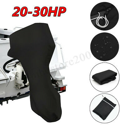 600D Black Boat Full Outboard Engine Cover Fit For 20-30HP Motor Waterproof